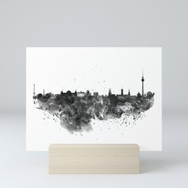 Black and white Berlin watercolor skyline Mini Art Print