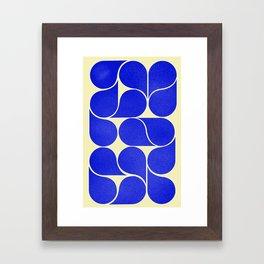 Blue mid-century shapes no8 Framed Art Print