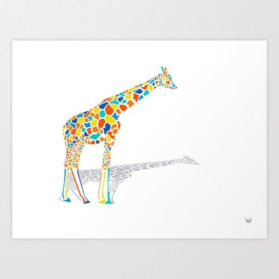 Technicolor Giraffe Art Print