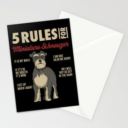 Funny Rules for Miniature Schnauzer Stationery Cards