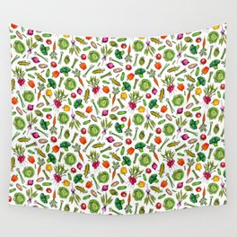 Vegetable Garden - Summer Pattern With Colorful Veggies Wall Tapestry