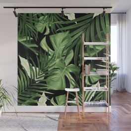 Tropical Jungle Night Leaves Pattern #5 #tropical #decor #art #society6 Wall Mural