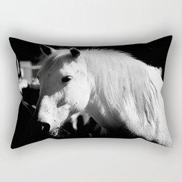 White Horse-Dark Rectangular Pillow