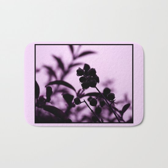 raindrops and hedge berries (purple) Bath Mat