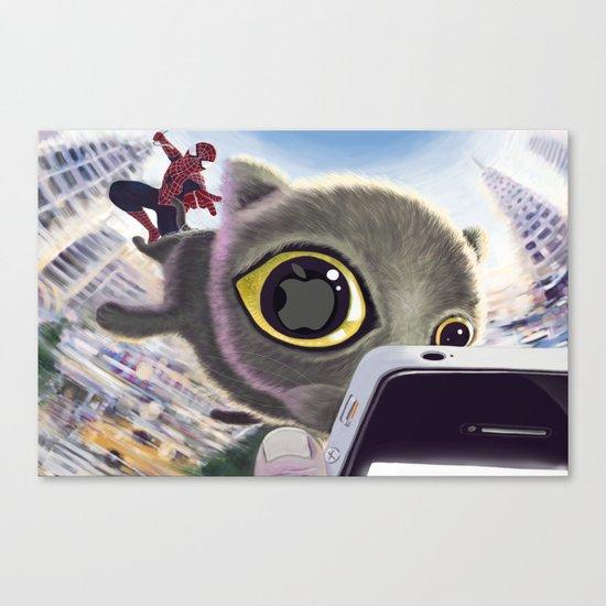 Falling Cat & Hero Canvas Print