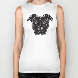 Black Pitbull Head Dog Print Biker Tank