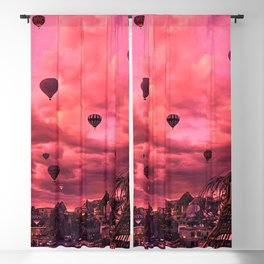 Hot Air Balloons On The Pink Sky Blackout Curtain