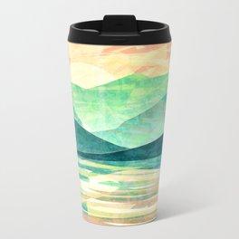 Spring Sunset over Emerald Mountain Landscape Painting Metal Travel Mug