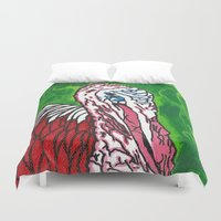 turkey Duvet Covers featuring Angry Turkey by Sian Blackman
