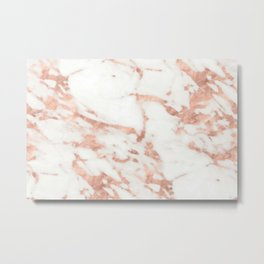Marble - Metallic Rose Gold Marble Pattern Metal Print