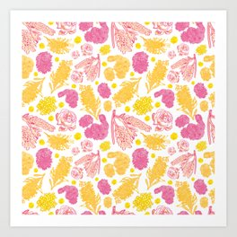 Beautiful Floral Pattern with Australian Native Bottlebrush Flowers Art Print