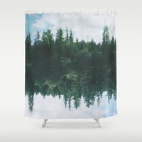 lake Shower Curtains featuring lake by cOnNymArshAuS