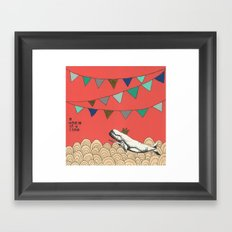 A whale of a time in pink Framed Art Print