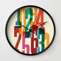 numbers Wall Clocks featuring Numbers by Marco Campedelli