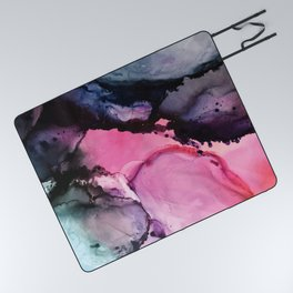 Pink and Navy Alcohol Ink Painting Picnic Blanket
