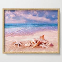 Seashells on the beach Serving Tray