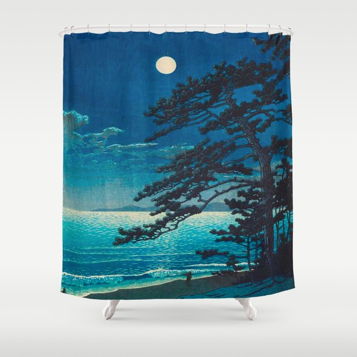 Vintage Japanese Woodblock Print Moonlight Over Ocean Japanese Landscape Tall Tree Silhouette Shower Curtain