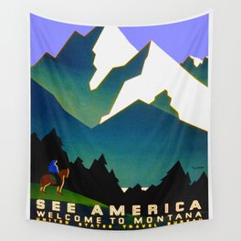 See America Montana - Retro Travel Poster Wall Tapestry