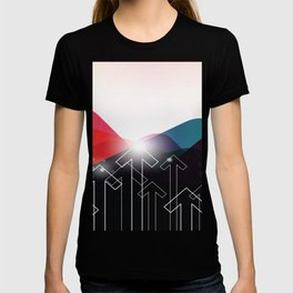 MOUNTAINS AND ARROWS Abstract Art T-shirt