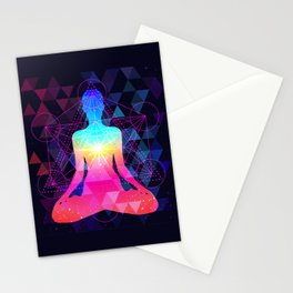 Human silhouette meditating or doing yoga. Metatrons Cube, Flower of life. Stationery Cards