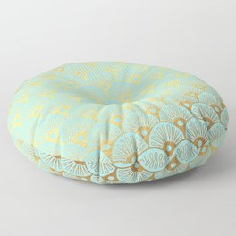 Art Deco Mermaid Scales Pattern on aqua turquoise with Gold foil effect Floor Pillow