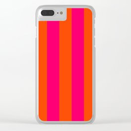 Bright Neon Pink and Orange Vertical Cabana Tent Stripes Clear iPhone Case