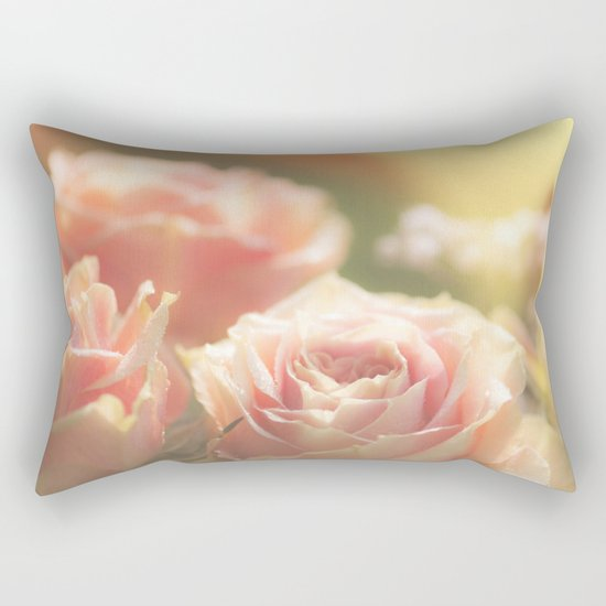 Bunch of pink Roses at backlight- Rose Flowers Rectangular Pillow