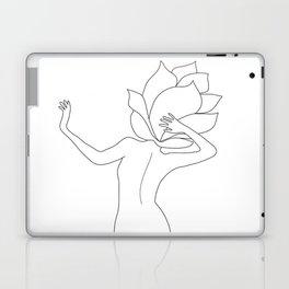 Minimal Line Art Flower Woman Laptop & iPad Skin