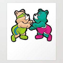 TEDDY BEAR WRESTLING Wrestler Art Print
