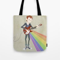 radiohead Tote Bags featuring Radiohead Thom in Rainbows by AnaMF