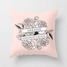 anxious procrastinator Throw Pillow
