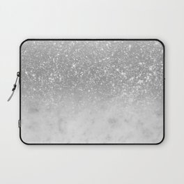 White Marble Silver Ombre Glitter Glam #1 #shiny #gem #decor #art #society6 Laptop Sleeve