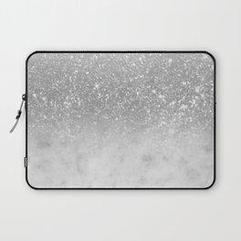 White Marble Silver Ombre Glitter Glam #1 #shiny #gem #decor #art #society6 Laptop Sleeve