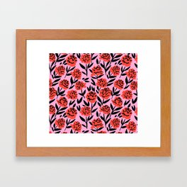Red Peonies Framed Art Print