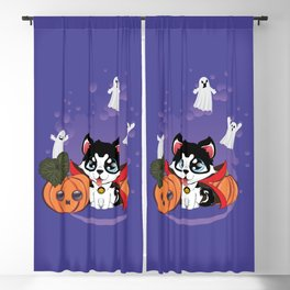 Kawaii count Huskula with pumpkins and ghosts Blackout Curtain