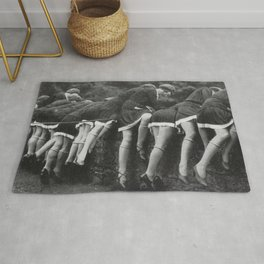 Jazz Age Flappers Head over Heals black and white photograph Rug