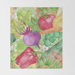 Mixed Vegetables Watercolor Throw Blanket