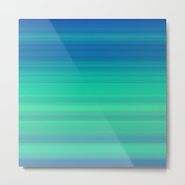 Blue Green Gradient Stripes Metal Print