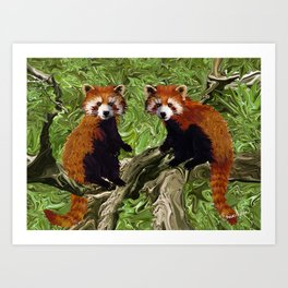 Frolicking Red Pandas Art Print