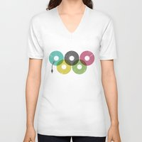 records V-neck T-shirts featuring Olympic Records by Jorge Lopez