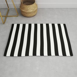 Abstract Black and White Vertical Stripe Lines 10 Rug