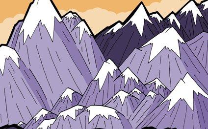 Art Print - Mountains under the orange sky -  Steve Wade ( Swade)
