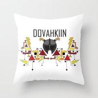 skyrim Throw Pillows featuring Skyrim: The Dovahkiin - RED (Skyrim) by E_Nicholson