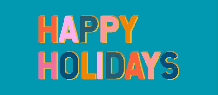 Colorful Happy Holidays Typography Coffee Mug