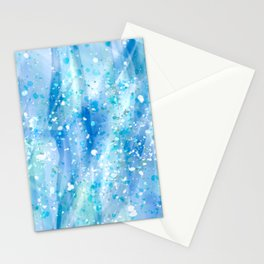 Blue Strokes, Spatter Abstract Stationery Cards