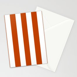 Mahogany red - solid color - white vertical lines pattern Stationery Cards