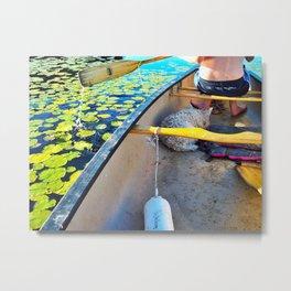 Westie in a Canoe on Moose Pond Metal Print