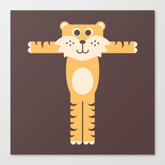 Letter T // Animal Alphabet // Tiger Monogram Canvas Print