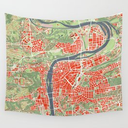 Prague map classic Wall Tapestry