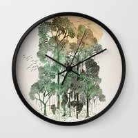 david Wall Clocks featuring Jungle Book by David Fleck